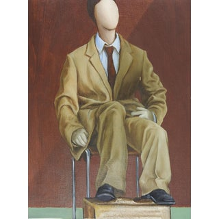 "Surreal ""Mannequin in Suit"" Oil Painting"