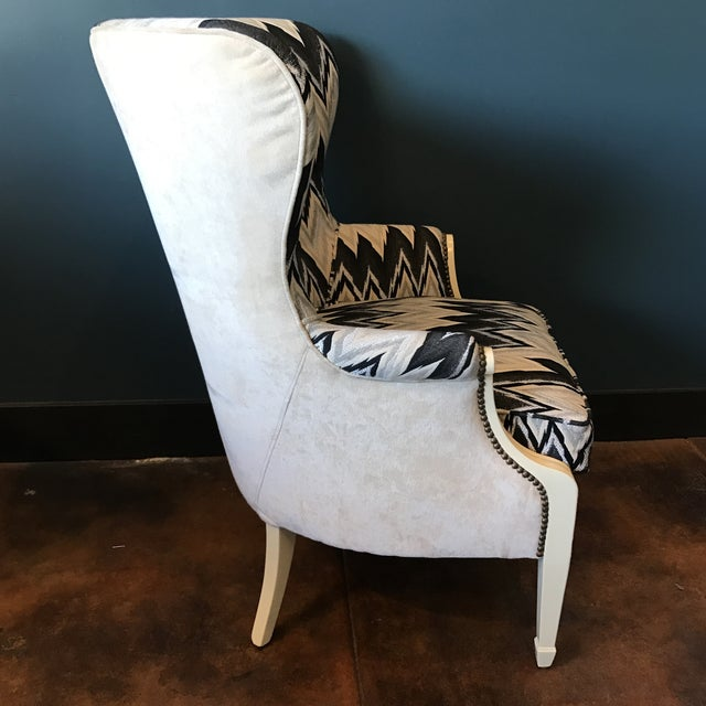 Custom Brass Tacked Wingback Chair - Image 6 of 9