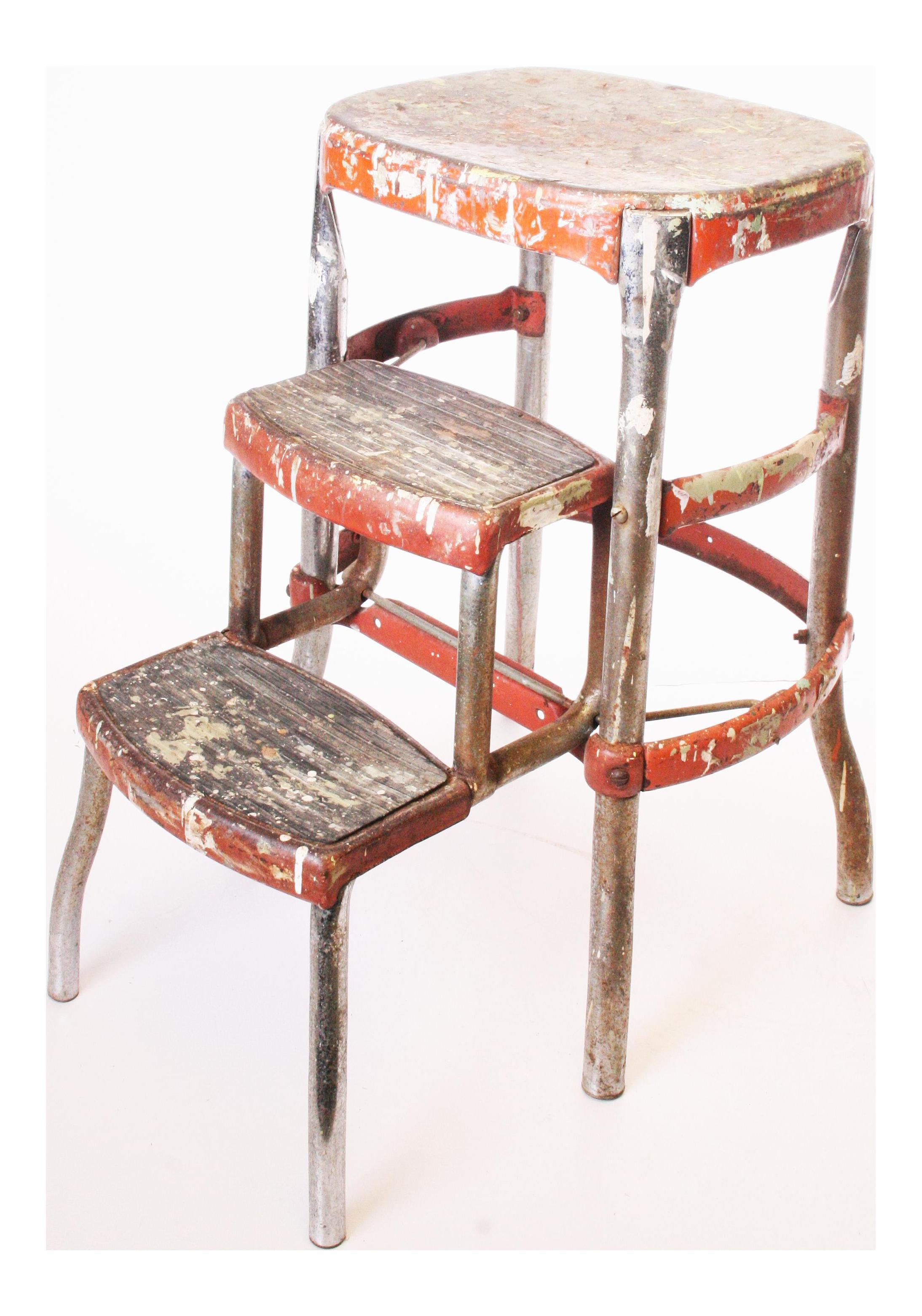 Vintage Industrial Metal Cosco Folding Stool Chairish
