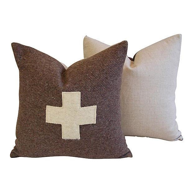 Swiss Wool Appliqué Cross Pillows - Pair - Image 3 of 6