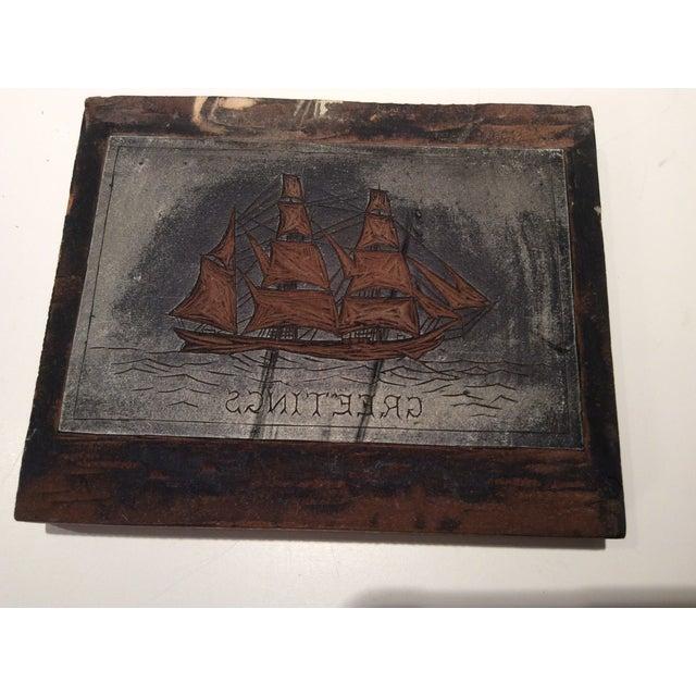 Image of Antique 1937 Maritime Carved Linoleum & Wood Block