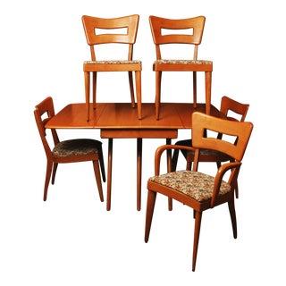 Heywood Wakefield Dining Set - Wishbone Table & 5 Dogbone Chairs