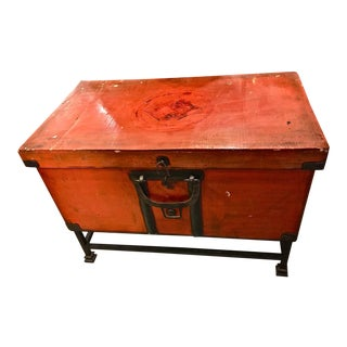 Antique Japanese Lacquer Chest on Stand