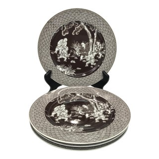 Asian Luncheon Plates with Asian Scenes - Set of 4