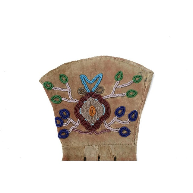 Native American Antique Leather & Beads Gloves - Image 6 of 7
