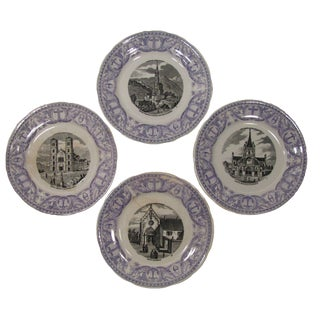 Antique French Transferware Pilgrimmage Plates - Set of 4