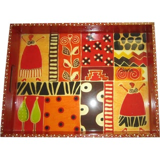 African Wooden Patterned Tray