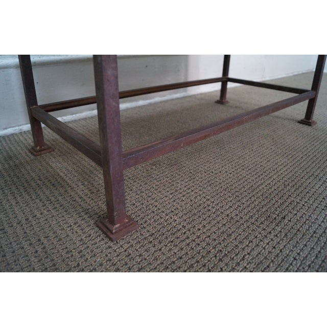 Image of Rustic Scrolled Iron Frame Window Bench