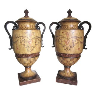 Italian Hand-Painted Urns - A Pair
