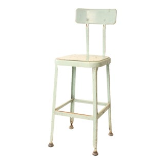 Vintage Industrial Light Green Steel Drafting Stool