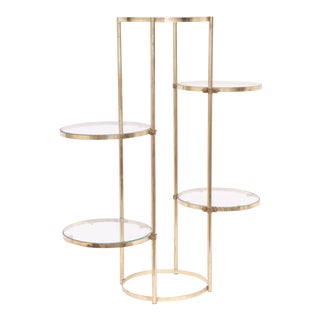 Brass Mid-Century Gold Shelf or Plant Stand