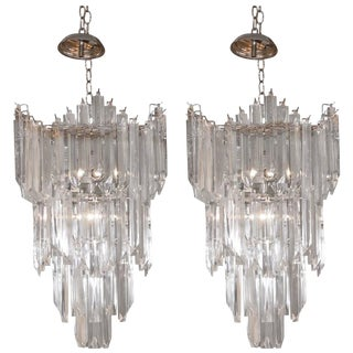 Rare and Attractive Pair of Mid-Century Lucite Chandeliers