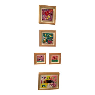 Folk Art Patricia Von Schlegel Paintings - Set of 5