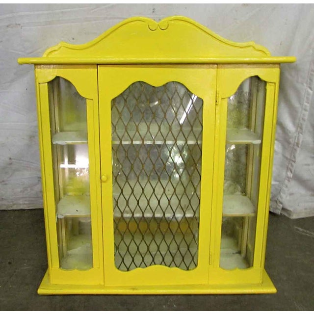 Yellow Painted Curio Cabinet - Image 8 of 8
