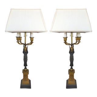 19th C. Bronze Candelabra Lamps - A Pair