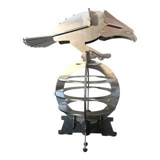 Modern Steel Eagle on Globe Sculpture