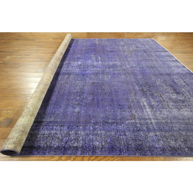 "Purple Overdyed Oriental Rug - 10' 1"" x 12' 1"" - Image 10 of 10"
