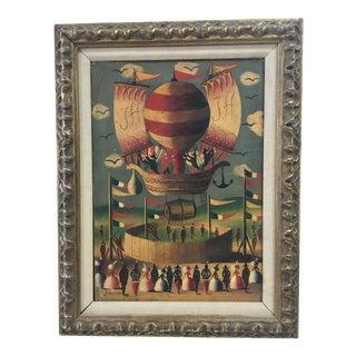Jean Carrau Balloon Launch Oil Painting