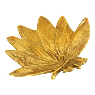 Vintage Virginia Metalcrafters Brass Sage Leaf Dish