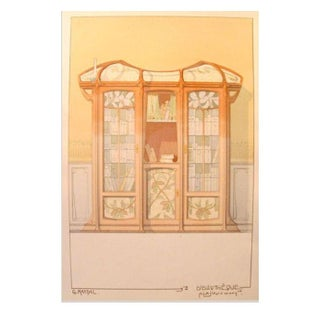 Vintage French Decorator Sheet Interior/Bookcase