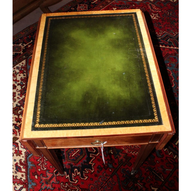 Pembrook Side Table with Green Leather - Image 3 of 4