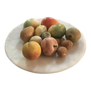 Marble Pedestal Stone Fruit Collection - Set of 15