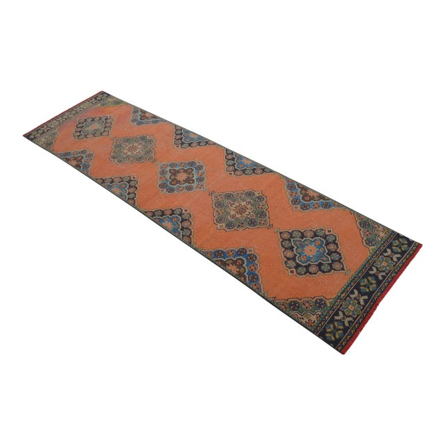 "Distressed Oushak Rug Runner Salmon Hallway Decor - 3' x 10'9"" - Image 1 of 10"