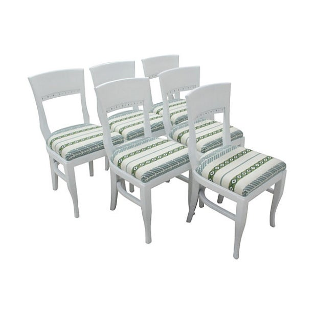 Image of White Morrocan Stripe Dining Chairs, S/6