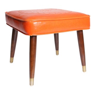 Mid Century Modern Orange Vinyl Foot Stool