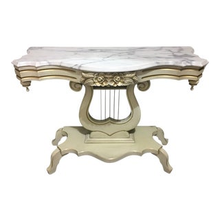 French Provincial Marble Top Lyre Based Hall Table