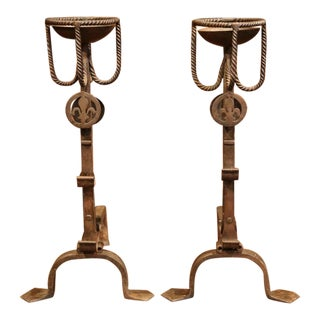 Early 19th Century French Wrought Iron Andirons With Fleur-De-Lis - A Pair