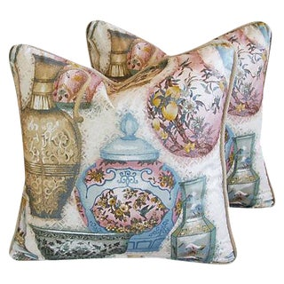 Karen Holzman for Robert Allen Chinoiserie Vase Pillows - a Pair