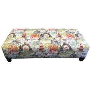 CR Laine Catskill Ottoman in Chinoiserie Fabric