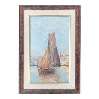 Vintage 1934 Seascape Sailboat Original Painting Signed