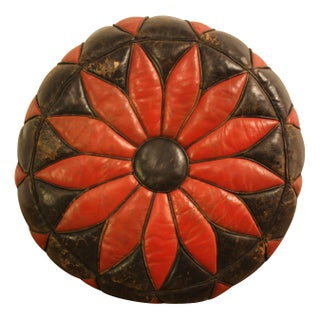 Danish Modern Leather Poinsettia Ottoman