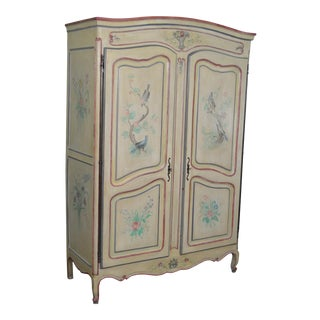 Antique French Louis XV Style Hand Painted Armoire