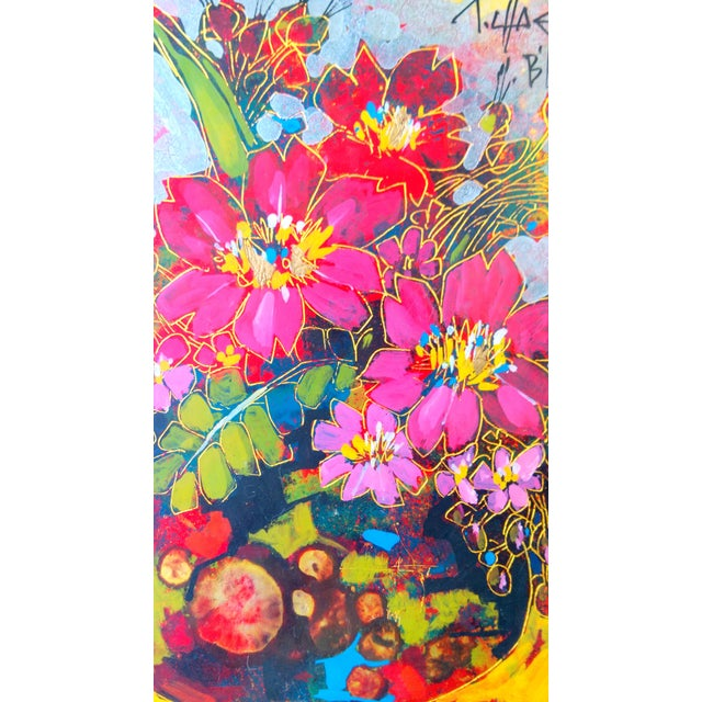 Vintage Abstract Floral Acrylic on Foil Painting - Image 5 of 10