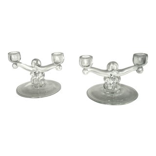 Modernist Glass Candlesticks - A Pair