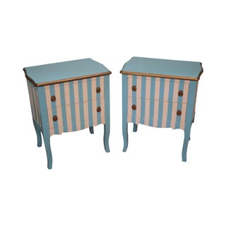 Blue & White Striped Painted French Louis XV Nightstands - Pair