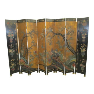 Large Chinese Antique Style Coromandel 8 Panel Screen