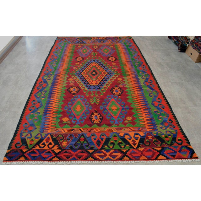 Turkish Kilim Hand Woven Wool Area Rug - 5′8″ X 9′4″ - Image 5 of 9