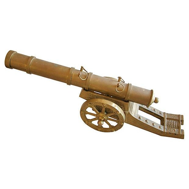 Vintage Mid-Century Brass Cannon - Image 4 of 4