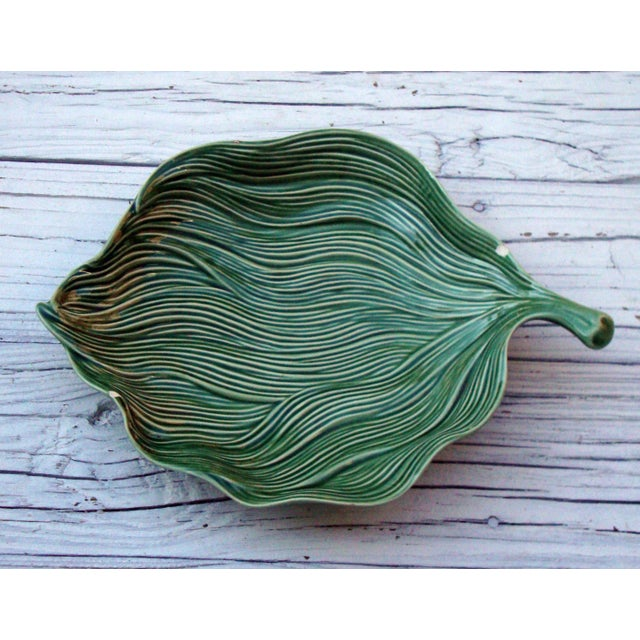 Antique Portuguese Green Leaf Majolica Ceramic - Image 4 of 10