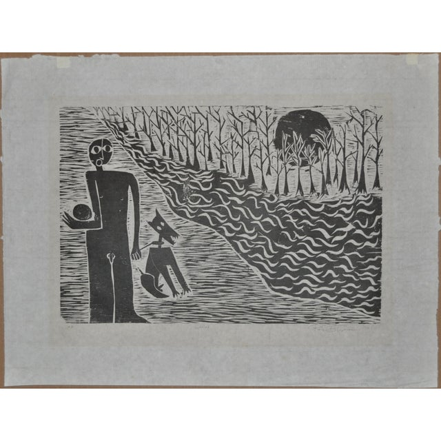 Mid Modern Woodblock C.1950 - Image 3 of 8