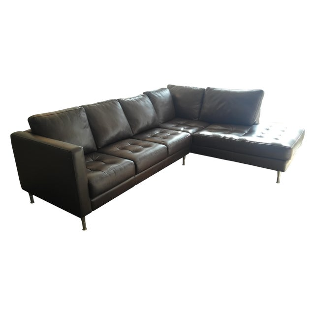 Tufted Dark Brown Leather Sectional - Image 1 of 6