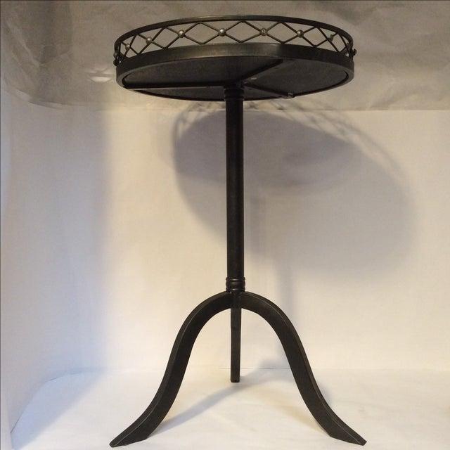 Black Metal Granite Top Side Table - Image 3 of 7