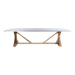 French Trestle Zinc Top Dining Table
