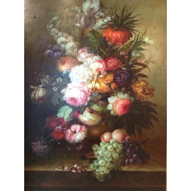 Large Floral Oil Painting in Ornate Gilded Frame - Image 3 of 10