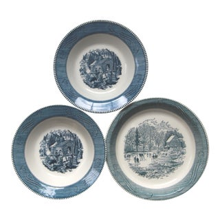 Currier & Ives Blue Transfer Ware Royal Dishes - 3