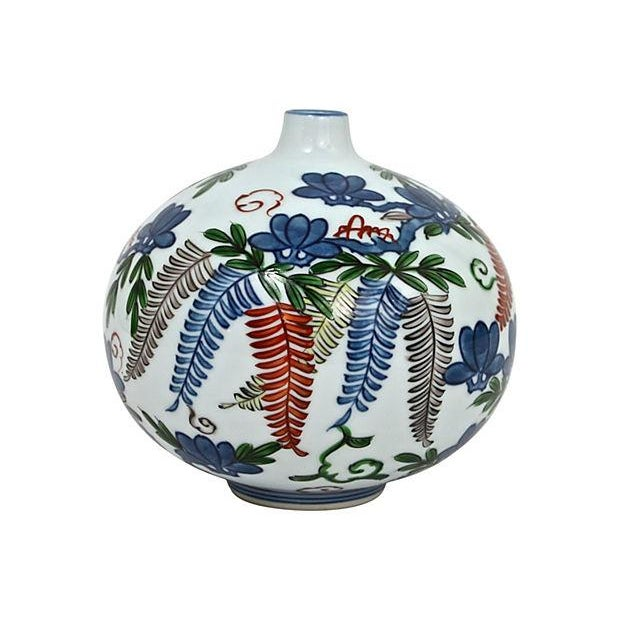 Asian Hand-Painted Orb Bud Vase - Image 1 of 7